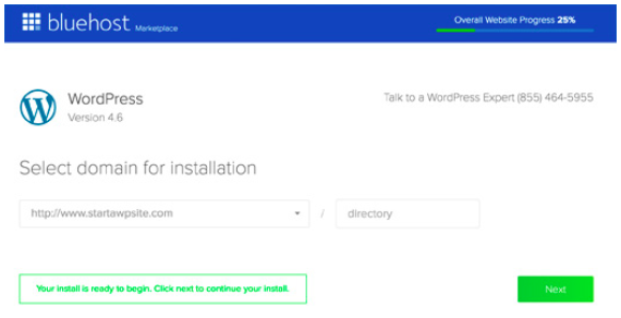 bluehost select domain wordpress