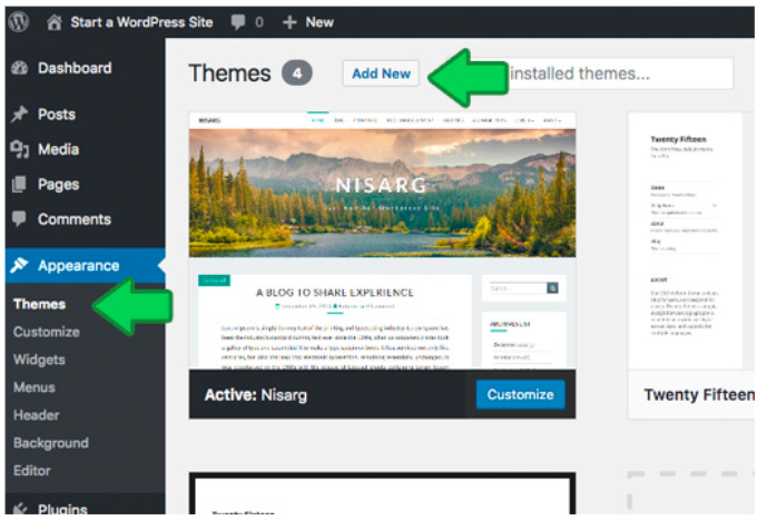 wordpress setup_selecting a theme
