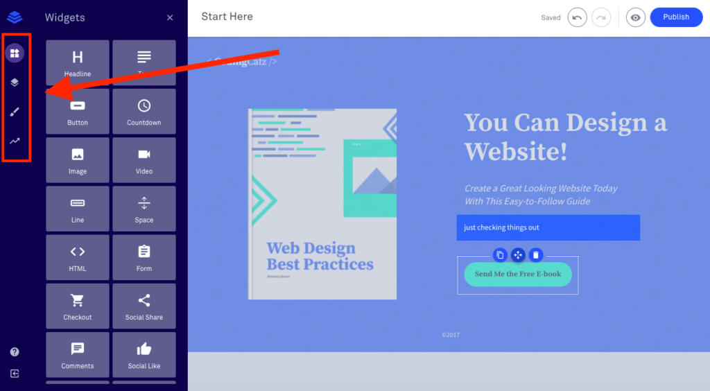 leadpages landing page editor
