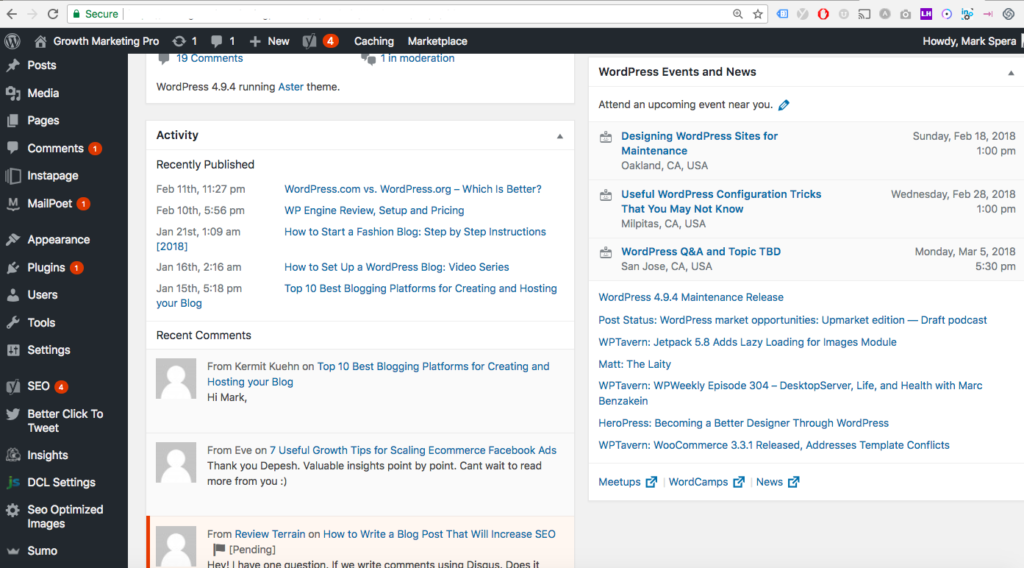 wordpress.org admin dashboard