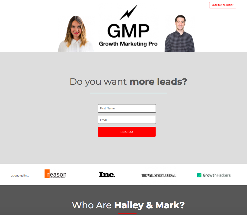 landing page software growth marketing pro