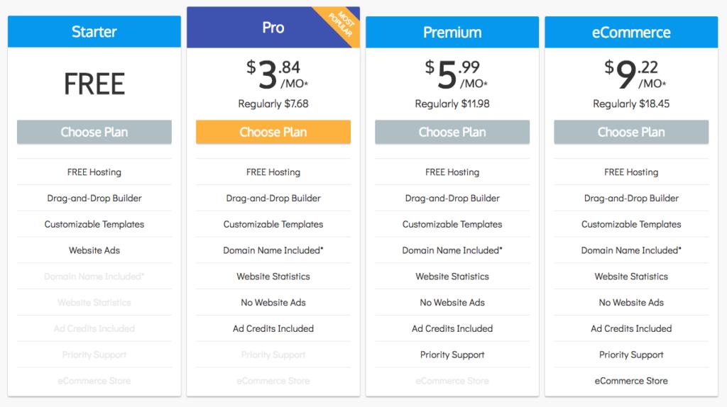 Sitebuilder Pricing