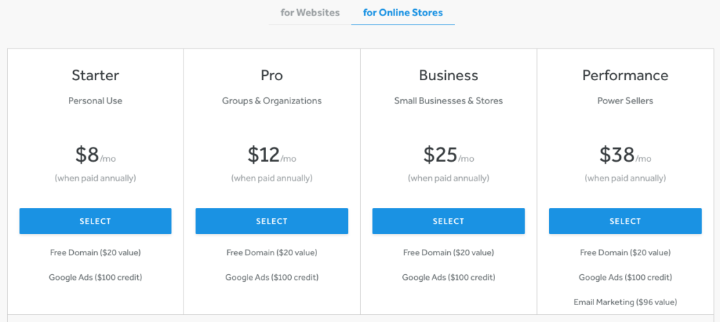 Weebly Store Pricing