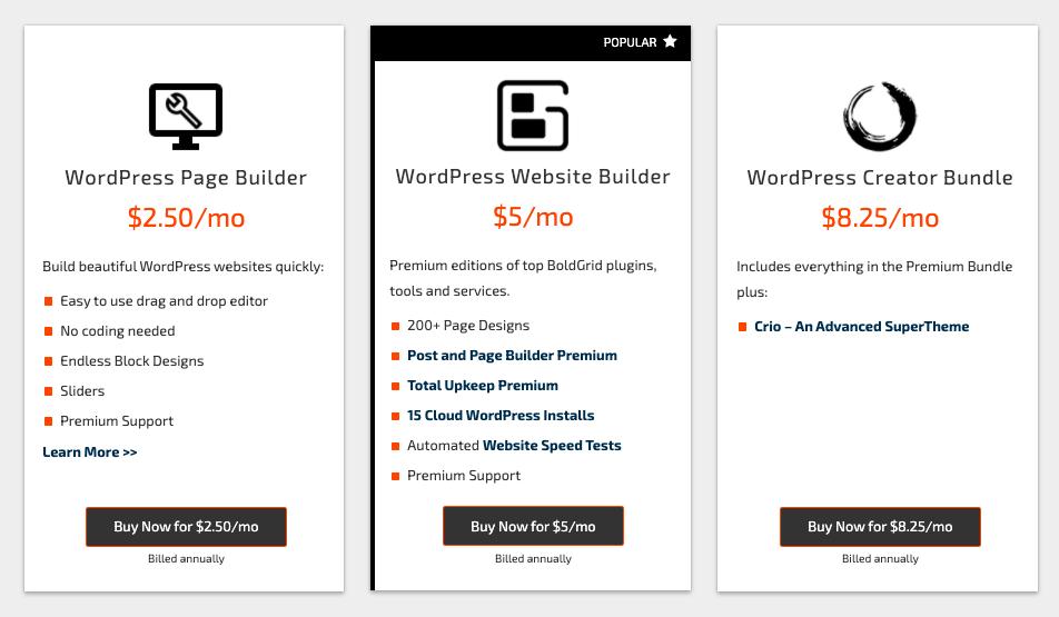Boldgrid pricing options