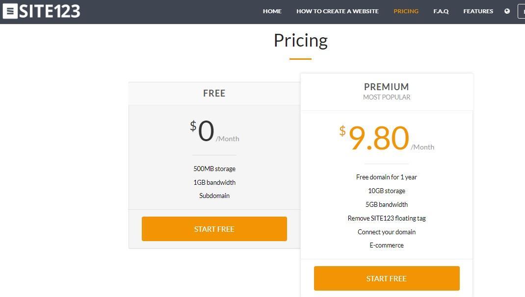 site123 website builder pricing