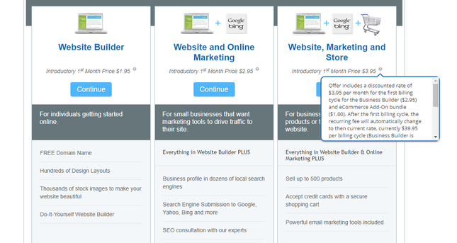 web.com website builder pricing