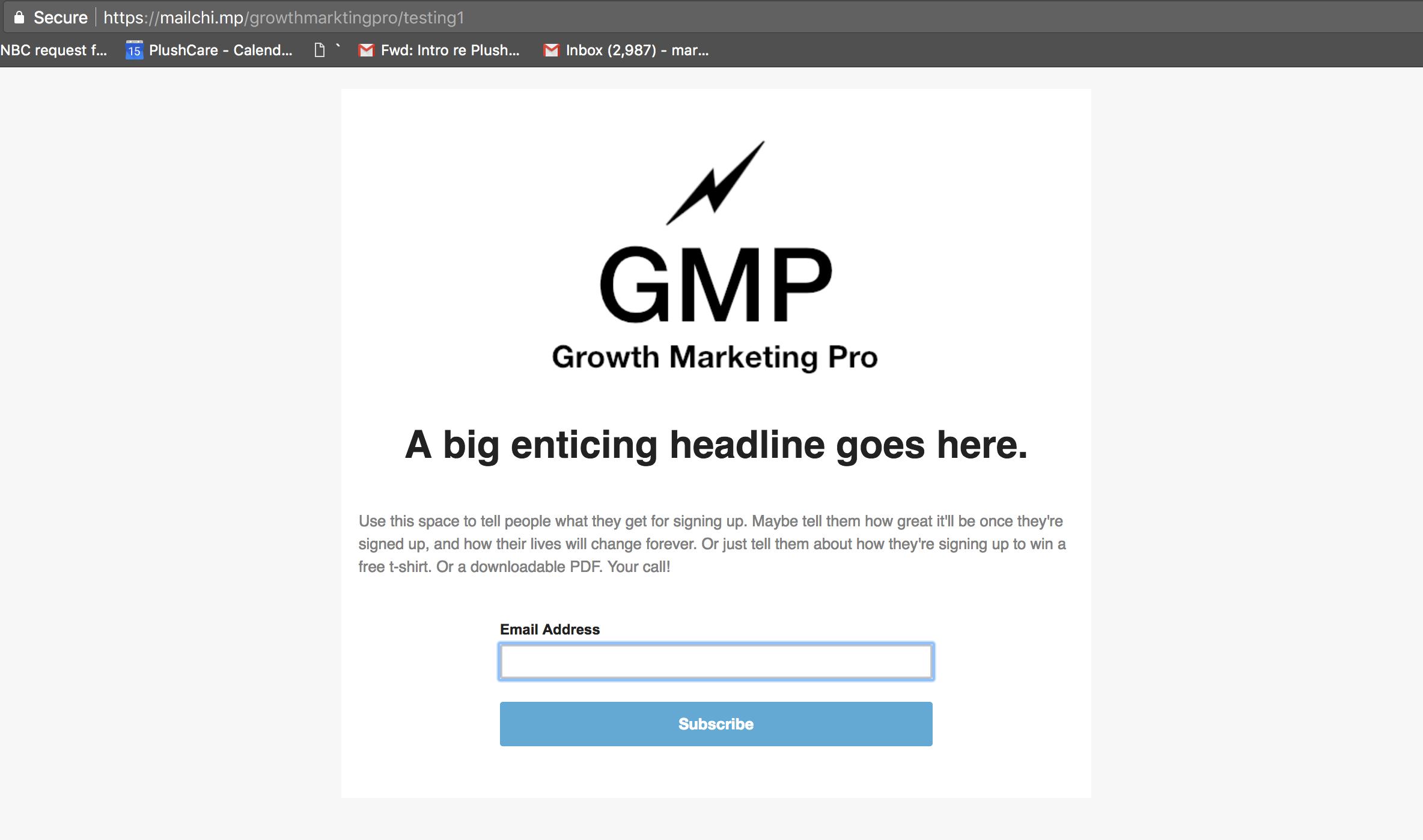 mailchimp landing page builder published page