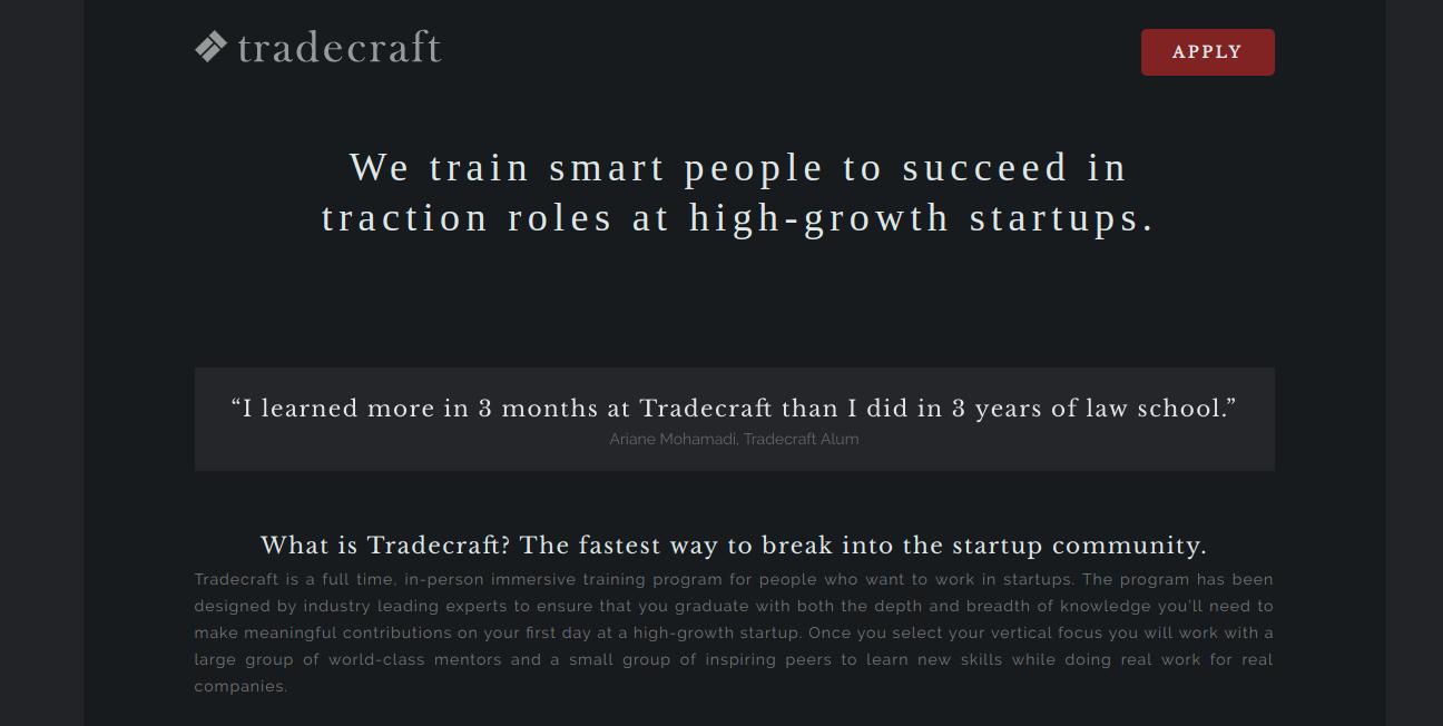tradecraft Growth marketing program