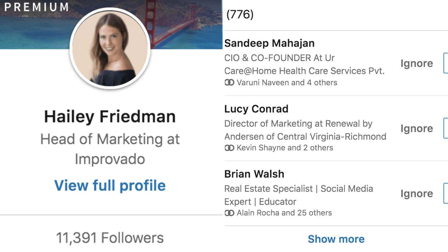 growth of my personal brand on linkedin