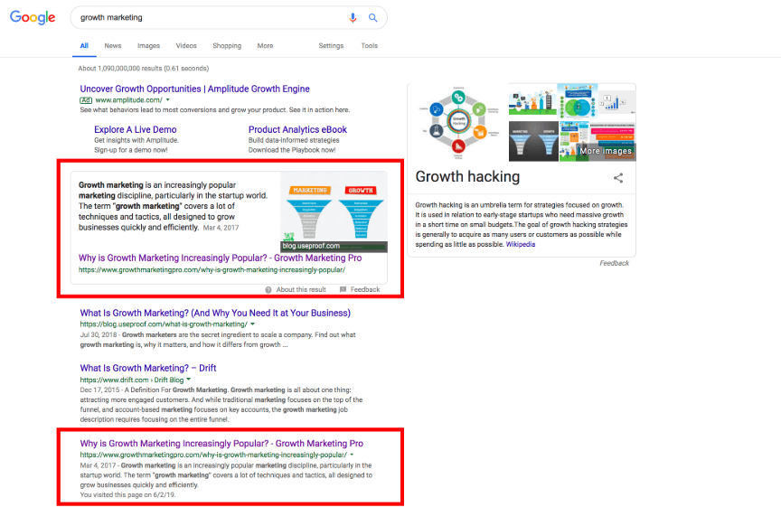 "Growth Marketing Pro ranks #1 for ""growth marketing"" on Google search"