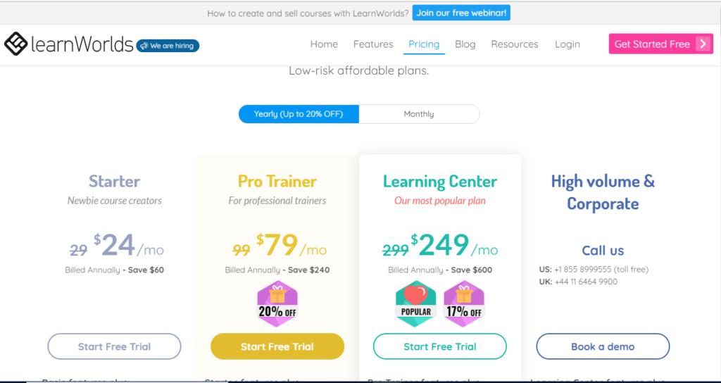 Learnworlds Pricing online course platform
