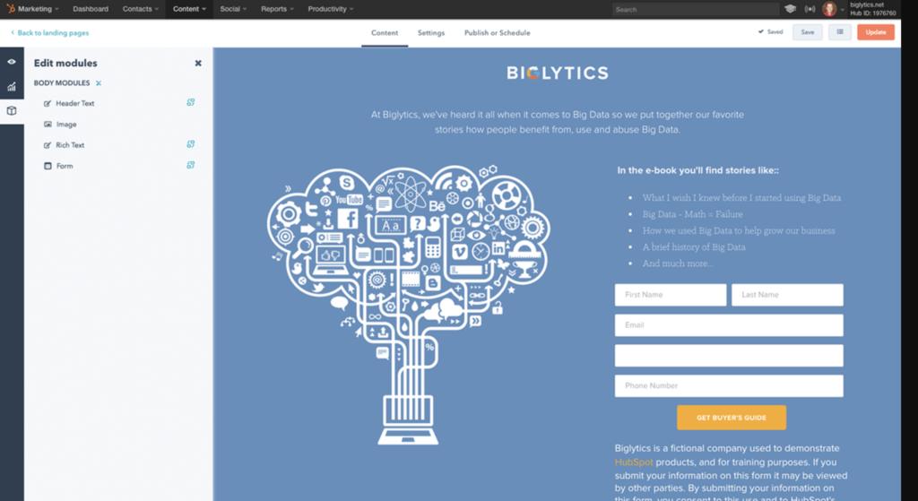 Screenshot of HubSpot landing page software editor