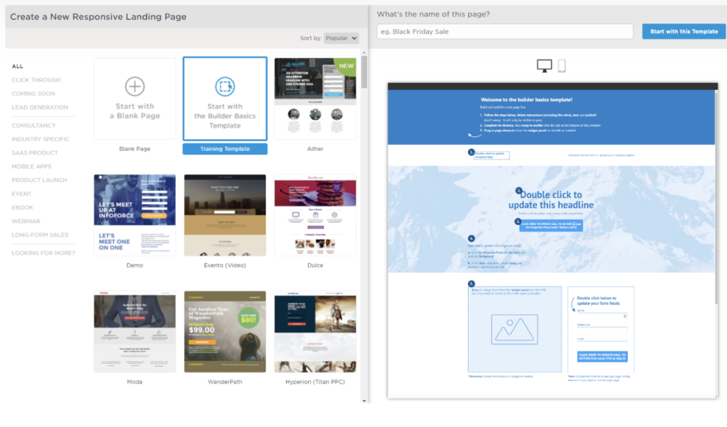 Unbounce product screenshot