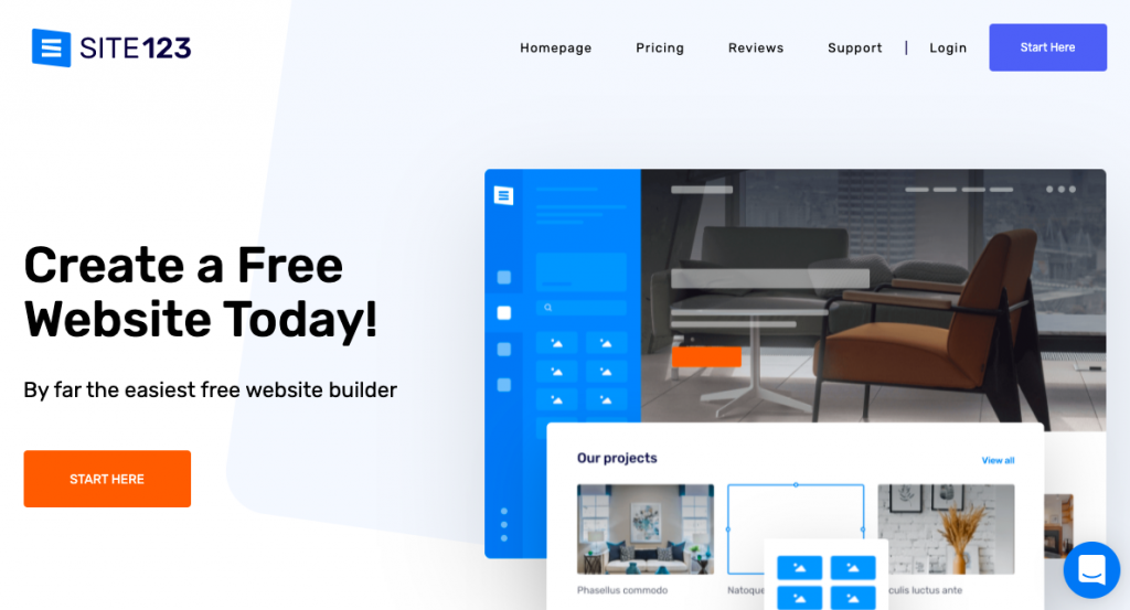 site123 homepage