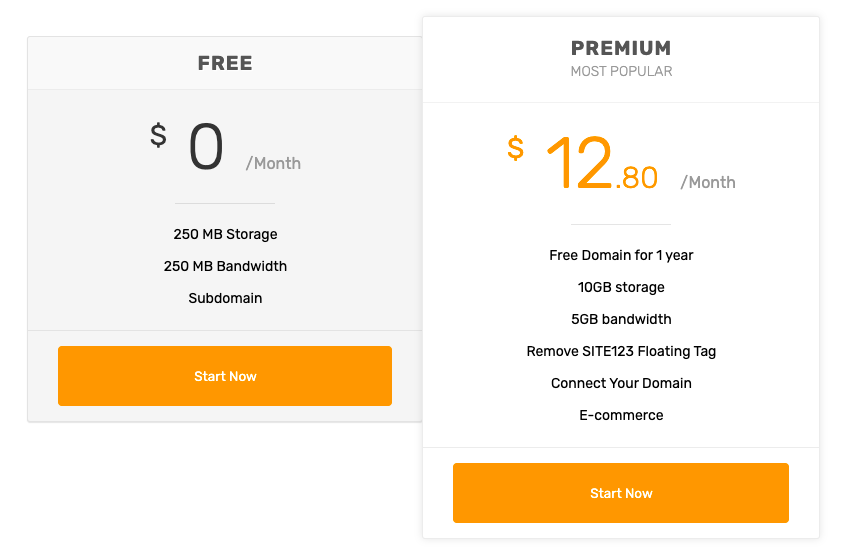 site123 pricing